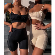 Strap pleated casual shorts suit sexy tight two-piece suit female MY9635