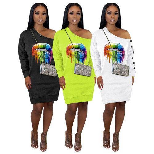 Leisure Oblique Shoulder T-Shirt Long Sleeves Dress MTY6252
