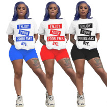 Casual Letters Printed Short Sleves And Shorts Two Pieces Sets MN8209