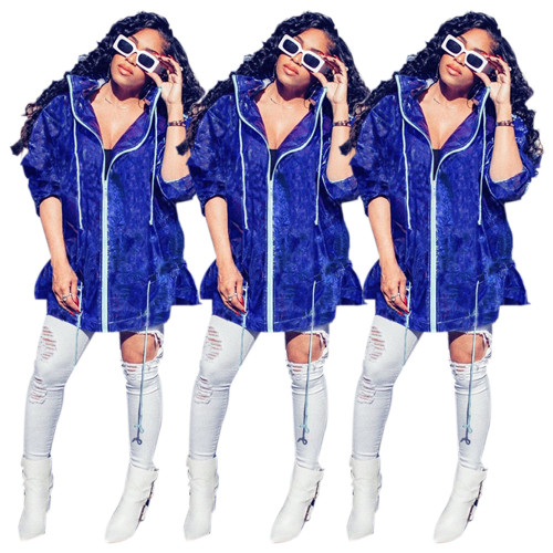 Hot Sell Women Leisure Shiny Hooded Coat With Zipper MA6132