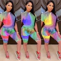 Fashion casual rainbow tie-dye suit MOM5037