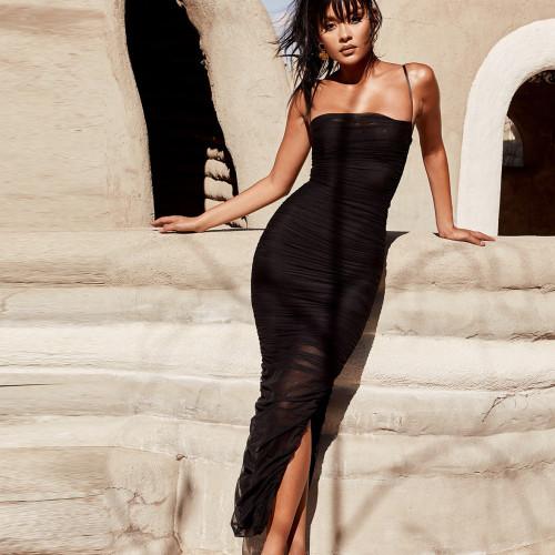 Slinged collar pleated split dress Slim sexy mesh nightclub dress FD8019