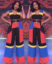New Design Sleeveless Color Patchwork Wide Leg Jumpsuit LA3121