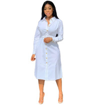 Casual Ladies Button Down White Shirt Dress Without Belt YX9136