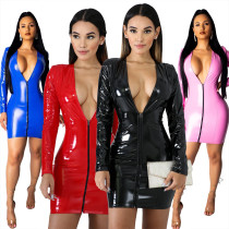 Zipper V Neck Long Sleeve Pu Leather Mini Club Dress QZ3258