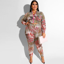 Printed zipper long sleeve tight fashion casual suit 19331