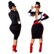 Women Stripe Patchwork Polo Neck Casual Dress SN3504