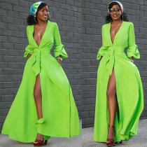 New Design Ladies Button Down Green Maxi Dress MTY6206
