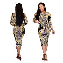 Fashion Print Skinny Midi Dress With Belt SMR9156