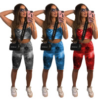 Fashion multicolor tie-dye suit W837