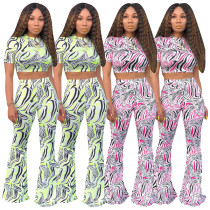 Women Printing Casual Suits Crop Top Flares Pants D9131