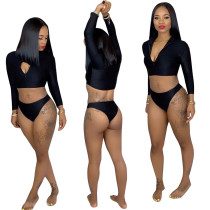 Bodycon Swimsuits Long Sleeves Zipper Top Black Panty DN8200