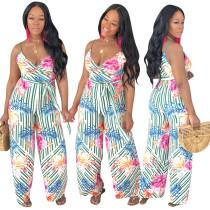 Lady Flower Print Condole Belt Wide Leg Jumpsuit With Belt ALS078
