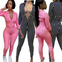 Striped Print Cropped Sleeve Sexy Jumpsuit DN8192