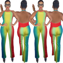 Colorful Print Backless Halter Neck Jumpsuits SY8317