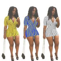Leisure Stripe Bandage Short Jumpsuit For Women MR116