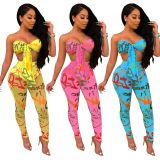 Printing Wholesale Suits Tied Bra Top Pencil Pants SY8371