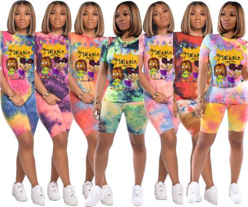 Tie-dye cartoon trend element leisure suit seven colors BN7081