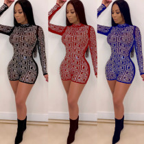 Long sleeve hot drilling high waist perspective sexy shorts jumpsuit ME2657