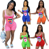 Short printed casual sports jumpsuit R629702