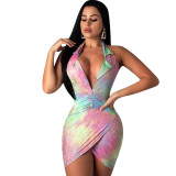Colorful Print Halter Neck Backless Mini Club Dress H1116