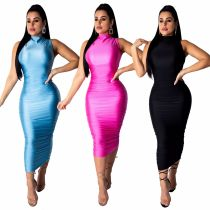 Pure Color Sleeveless Ankle Bodycon Dress QZ6067