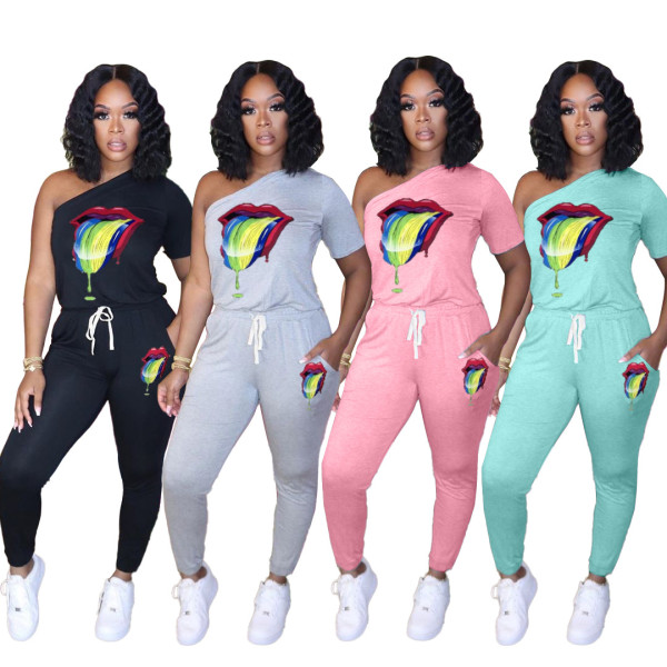 Sports Lips Printed One Shoulder Lace Up Jumpsuits LAL3200