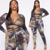 Tie-dye printed straps sexy tight two-piece suit large size suit OSS20642