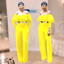 New Arrival Yellow Strapless Wide Leg Jumpsuits SMR9144