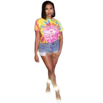 Colorful Printing Women Short Sleeves Casual T-Shirt BN9190