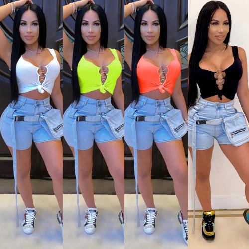 Women's fashion top short sleeveless vest women CYF3632