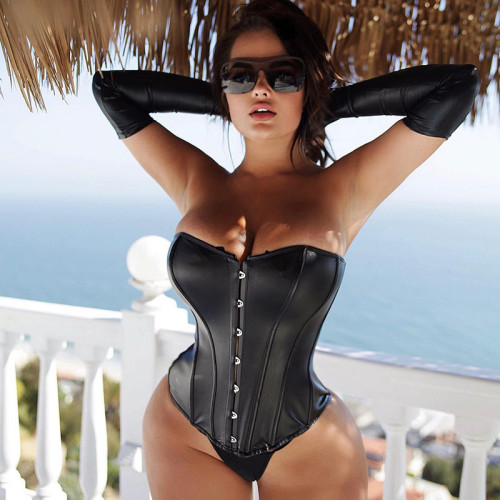 Women's new solid color chest-wrapped one-shoulder tie rope sleeveless leather corset G19426T