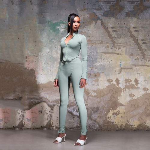 Women's two-piece long-sleeved zipper top sexy tight stretch pants FD8641