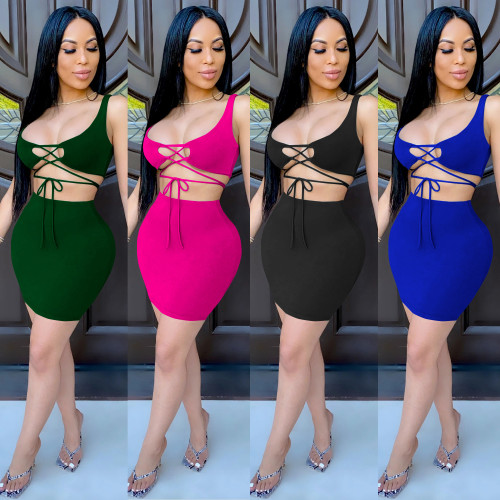 Two-piece Womens tight-fitting lace-up umbilical bag hip skirt short skirt XZ3625