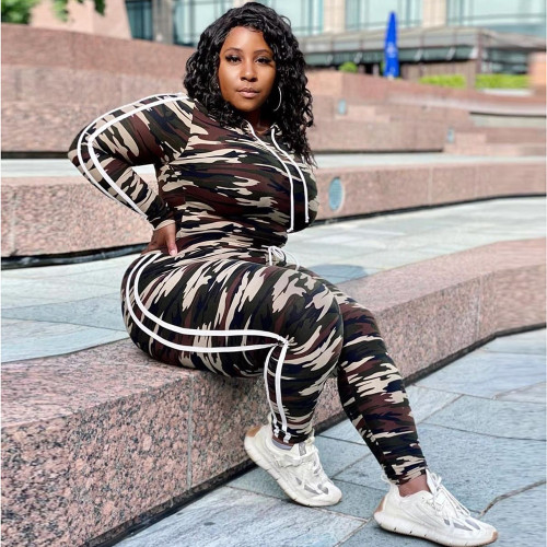 Plus size fashion women's clothing camouflage casual long sleeve + long pants sports suit CYS3935