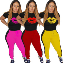 Women's Fashion Casual Sports Lips Fall Winter Set W8300