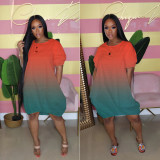 Women's Gradient Color Loose Short Sleeve Dress HM5351