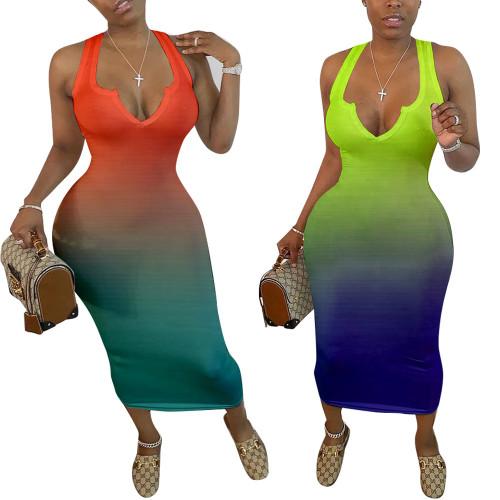 Sexy tight V-neck gradient dress midi skirt HM5332