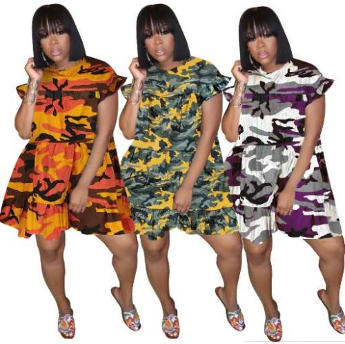 Camouflage denim pleated dress plus size Womens clothing LM1021