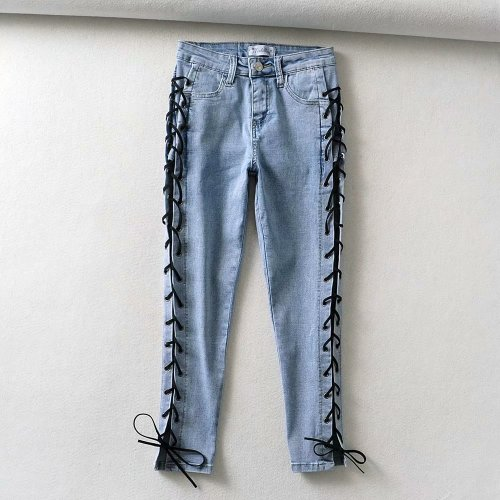 Women's new all-match high-waist casual pants Slim-fit jeans with strappy feet TTN092
