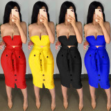 Women's Sexy Wrapped Chest Two-piece Skirt Mid-length Skirt with Ribbon Bowknot with Belt CYF3633