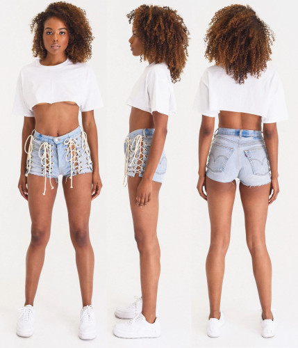 Women's personality eyelet strap high waist distressed sexy fashion denim shorts LA3203