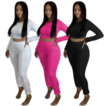 Solid color long-sleeved pleated trousers pleated sweatpants suit two-piece QQM4082