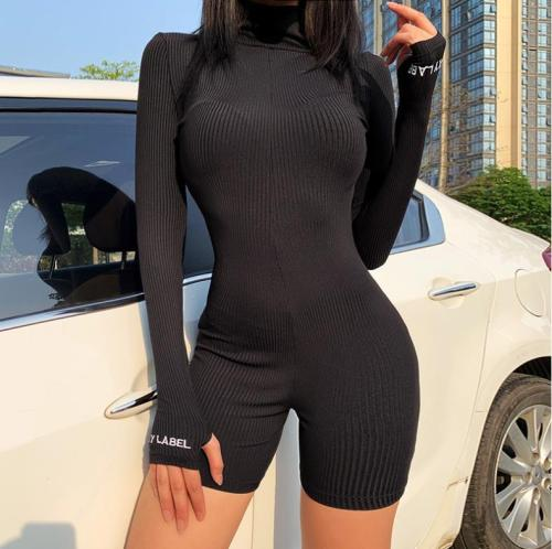 Zipper turtleneck embroidered sports short jumpsuit FF1011