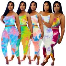 Fashion casual sling gradient color suit two-piece suit W8309