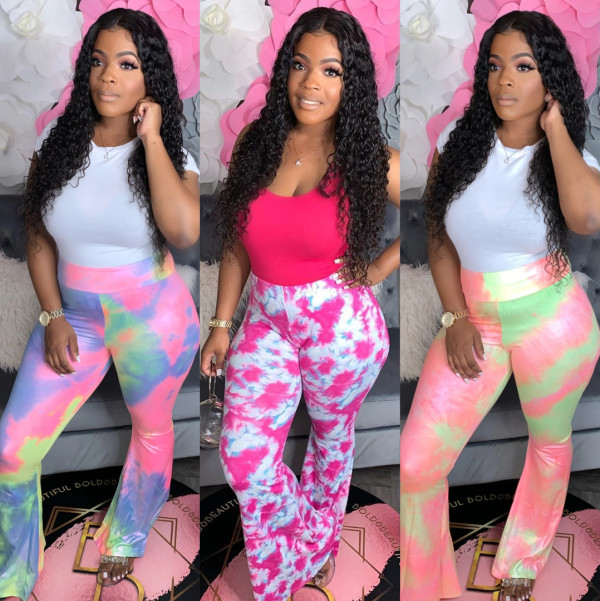 Fashion tie-dye Womens sexy flared pants S6235
