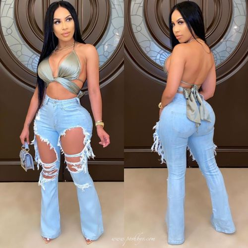 Ripped washed flared jeans ORY5165