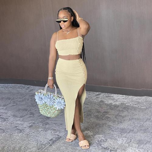 Women's Sling Slim Vest, High Waist Bag, Hip Skirt, Casual Suit S1737965