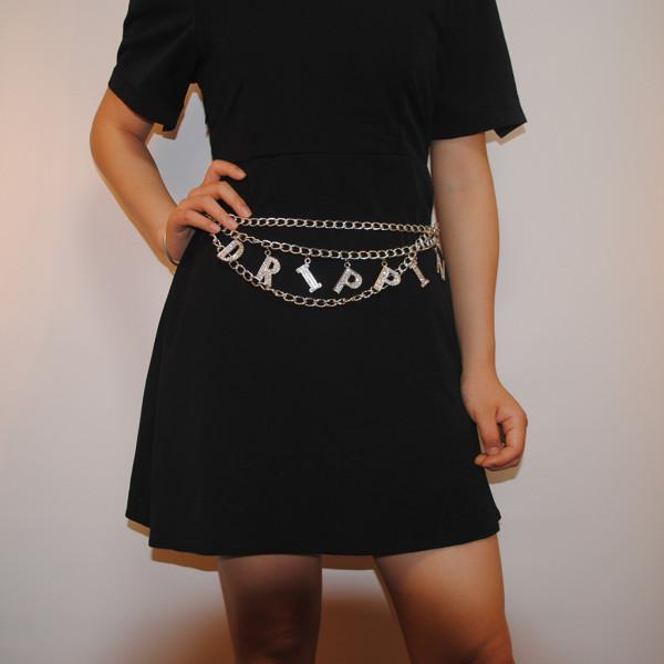 Fashion English Letter Pendant Metal Waist Chain KH7011