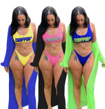 Split Swimsuit Printed Swimsuit Ruffle Sleeve Three-piece Swimsuit F8290